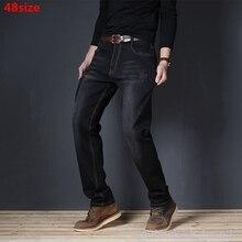 Autunno elastico stretto cinghia di grandi dimensioni jeans di sesso maschile sciolti di grandi dimensioni casuale di trasporto di stirata 48 46 44 42 40 di grandi dimensioni in più pantaloni da uomo