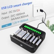 Ładowarka 8 gniazdo inteligentna ciekłokrystaliczny ładowarka baterii zasilany przez USB akumulator AA / AAA / C / D z wyświetlaczem LCD