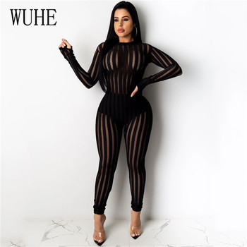 WUHE Sexy Perspective Mesh Bodycon Jumpsuits Women Skinny Stripe Rompers Night Club Party Long Sleeve Overalls Female