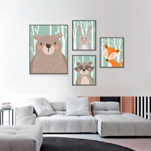 Forest Animals Canvas Painting Bear Rabbit Nordic Poster Nursery Wall Art Print Cartoon Pictures For Kids Room Decor
