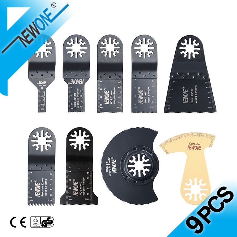 NEWONE 9PCS Carbide Multitool Oscillating Saw Blades With Bi-metal Saw Blade Cutting Out Samages Tile Joints