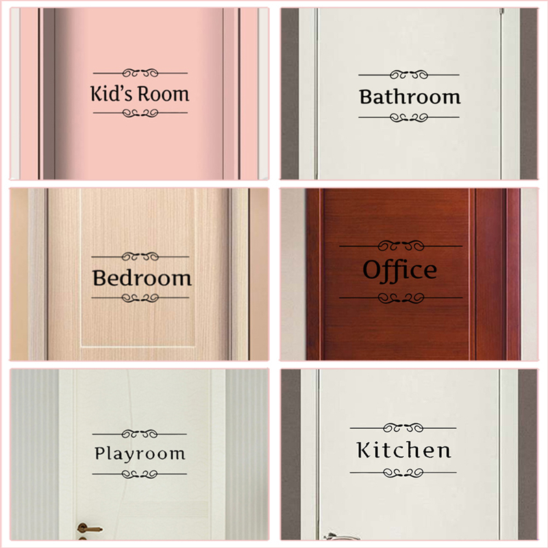 Kitchen Bathroom Bedroom Playroom Office Toilet Entrance Sign Door Stickers For Home Decoration Diy Vinyl Wall Art Quotes Decals