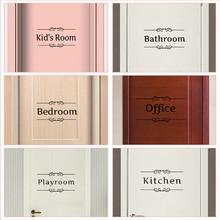 Cocina baño dormitorio sala de juegos Oficina letrero para entrada de baño puerta pegatinas para decoración del hogar Diy vinilo pared arte citas calcomanías