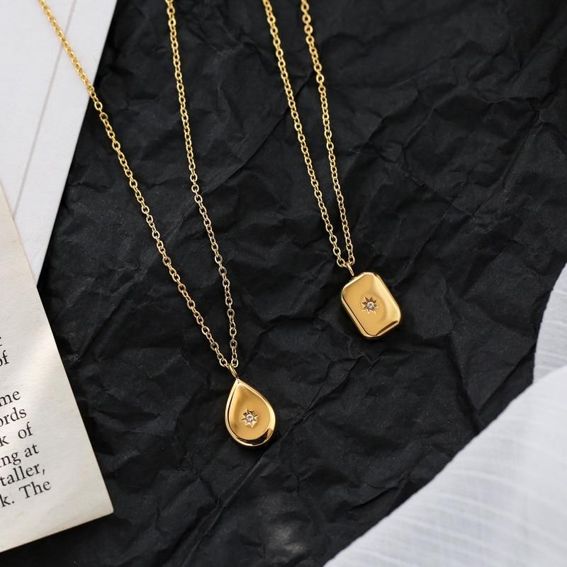 YUN RUO желтое золото цвет Lucky Polaris кулон ожерелье Женская Мода 316 L титановая сталь ювелирные изделия подарок на день рождения не выцветает