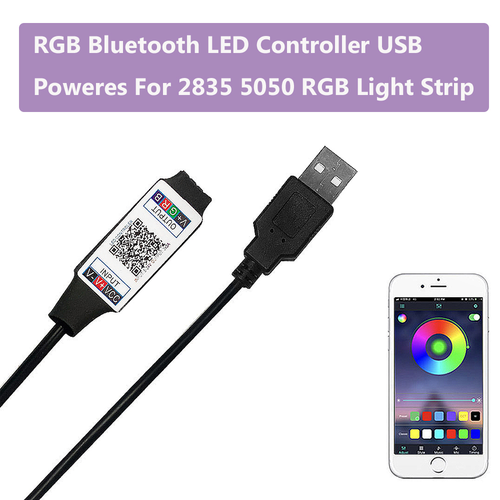 Smart RGB Bluetooth LED Controller USB Powered For 2835 5050 RGB Light Strip Multicolor Changing DC 5V With Timer Suitabl