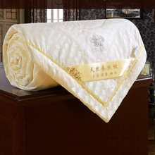 High Quality Mulberry Silk Quilt Summer Jacquard Duvets Four Seasons Keep Warm Comforters 100% Cotton Cover King Queen Full Size