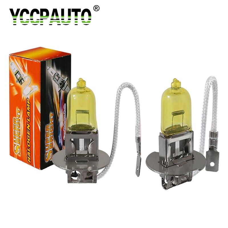 YCCPAUTO 2 шт. 12 В 55 Вт H3 галогенные фары противотуманные лампы 3200-3500 К золотой желтый свет авто передняя фара противотуманная фара Стайлинг авто...