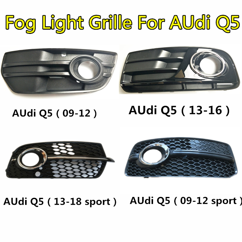 Fog Lamp Cover Facelift Car Front Lower Bumper Fog Light Grilles For Audi Q5 2009 2010 2011 2012 2013 ABS Replacem Racing Grills