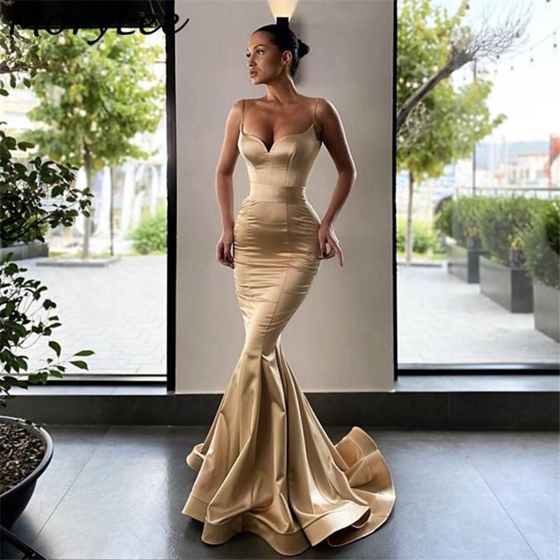 Prom Dresses Champagne Sweetheart Spaghetti Straps Silk Satin Mermaid Prom Dresses With Zipper Back vestidos de fiesta de noche