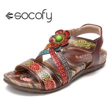 Sandals SOCOFY Flower-Decor Flat-Shoes Floral-Printed Casual Women Hook Beaded Loop Retro-Style