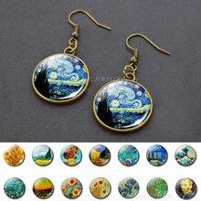 Van Gogh Dangle Earrings Starry Night Stud Earring Women Girl Gift Glass Cabochon Jewelry Bronze Earings Delicate Ear Hook