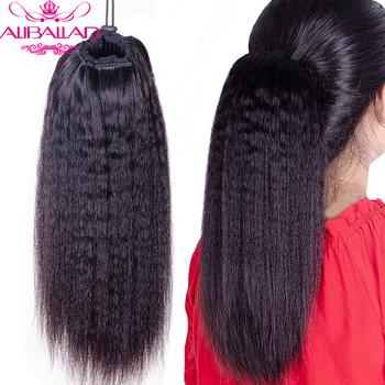Perwersyjne proste sznurkiem kucyk ludzki włos brazylijski dopinki na klips naturalny kolor nie Remy włosy 2 grzebienie Aliballad tanie i dobre opinie 100 g sztuka Ciemniejszy kolor tylko Kinky prosto Clip-in Pure color Brazylijski włosy