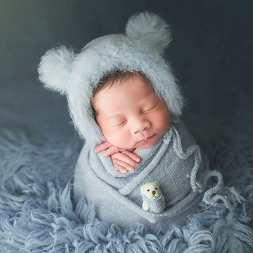 Newborn Photography Props Accessories Crochet Baby Fluffy Hat Cute Bear Doll Stretch Baby Wraps 3Pcs/Set Baby Photo Props