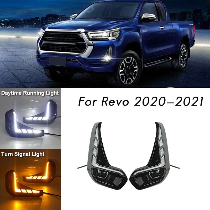 Für Toyota Hilux Revo 2020 2021 LED DRL Tagfahrlicht mit Blinker Stoßstange Nebel Licht Fahren Lampe