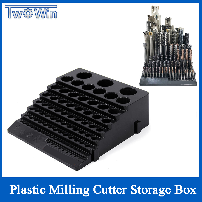 70x220x200mm 85 Holes Plastic Milling Cutters Storage Box Tap Reamer Turning Tool Holder Drill Bits Storage CNC Lathe Tool