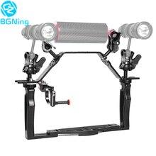Soporte base agarradera de cámara SLR subacuática de aluminio soporte de bandeja de mano Dual con mango superior Kit de montaje de disparador de obturador