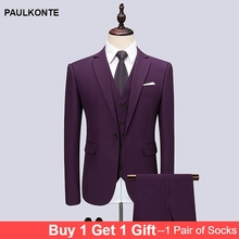 2019 New High Quality Three-Piece MenS Suit Business Talks High-End Dress Slim Luxury Social Dinner Costume