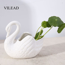 VILEAD-figuras de cisne de cerámica blanca, 10cm, accesorios de tiro, adornos para bodas, macetas, portavelas, artesanías de animales