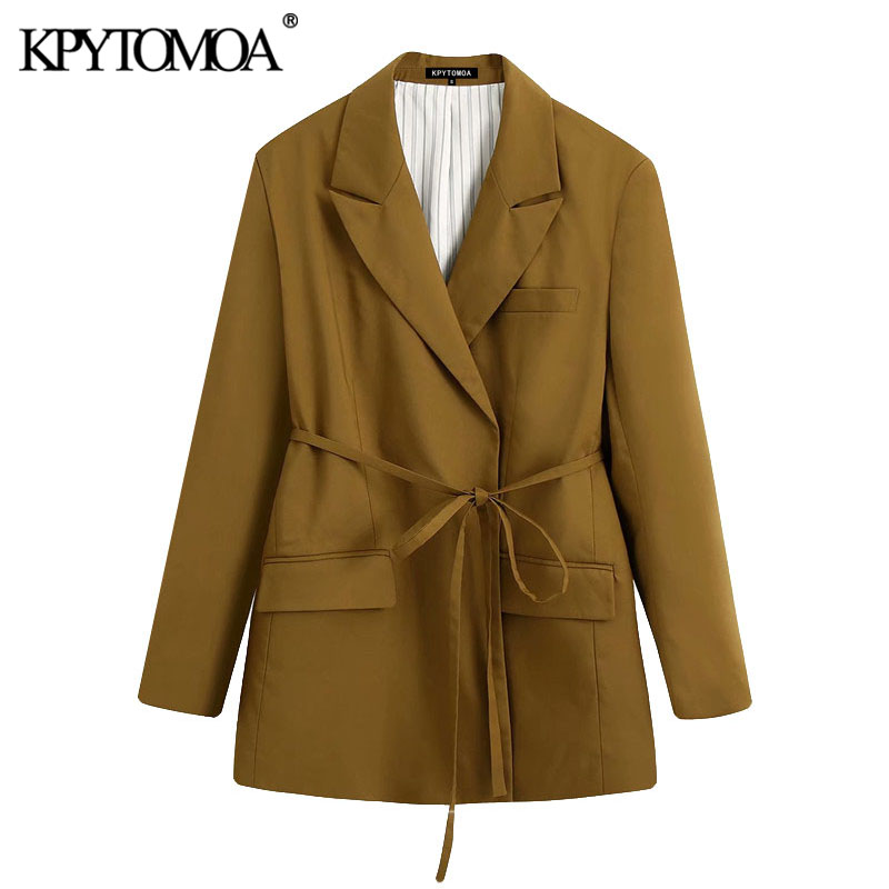 KPYTOMOA Women 2020 Fashion With Belt Oversized Blazers Coat Vintage Long Sleeve Pockets Loose Female Outerwear Chic Tops