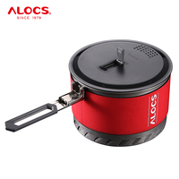 Alocs CW S10 CWS1 Outdoor Heat Exchange Camping Cooking Pot Cookware Folding Handle For Hiking Backpacking Picnic