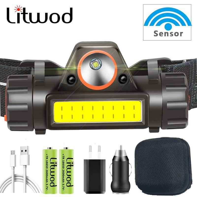 Sensor COB Headlamp Camping Head Lamp Headlight Waterproof Led Built in Usb Rechargeable 18650 Battery Working Light 5w lantern