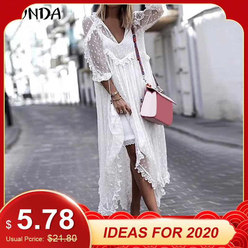 VONDA Summer Sexy White Lace Dress 2019 Women V-Neck Dot Hollow Asymmetrical Hem Dress Bohemian Holiday Vestidos Plus Size S-5XL