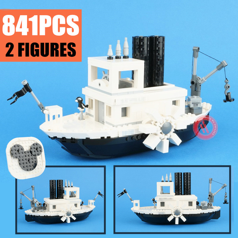 2019 New Steamboat Movie Figures Willie Fit Legoings Technic Building Blocks Bricks Toys Children Gift Model Kid 21317 Christmas