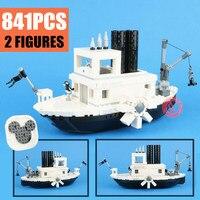 2019 New Steamboat Movie Figures Willie Fit Legoings Technic Building Blocks Bricks Toys Children Gift Model Kid 21317 Christmas