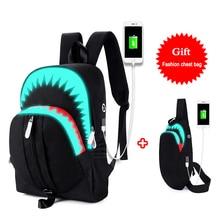 Fashion Luminous Student School Bags USB Charging Men's Shark School Backpacks Chest Bag Teenager Boy Girls Travel Women Mochila