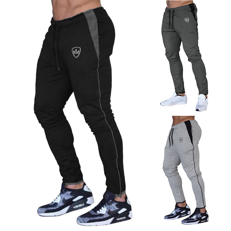 AliExpress 2019 Ouma Autumn And Winter New Style Men Solid Color Crown Logo Casual Athletic Pants