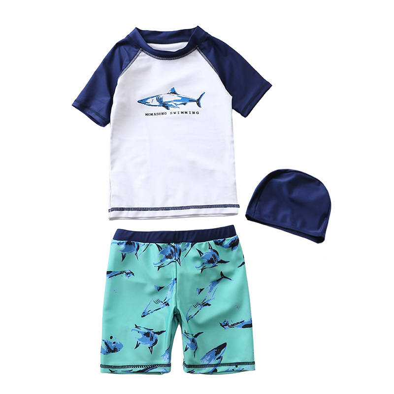 KID'S Swimwear BOY'S Split Type Three-piece Set Cartoon Shark Swimwear Boy Large Children Baby BOY'S Tour Bathing Suit