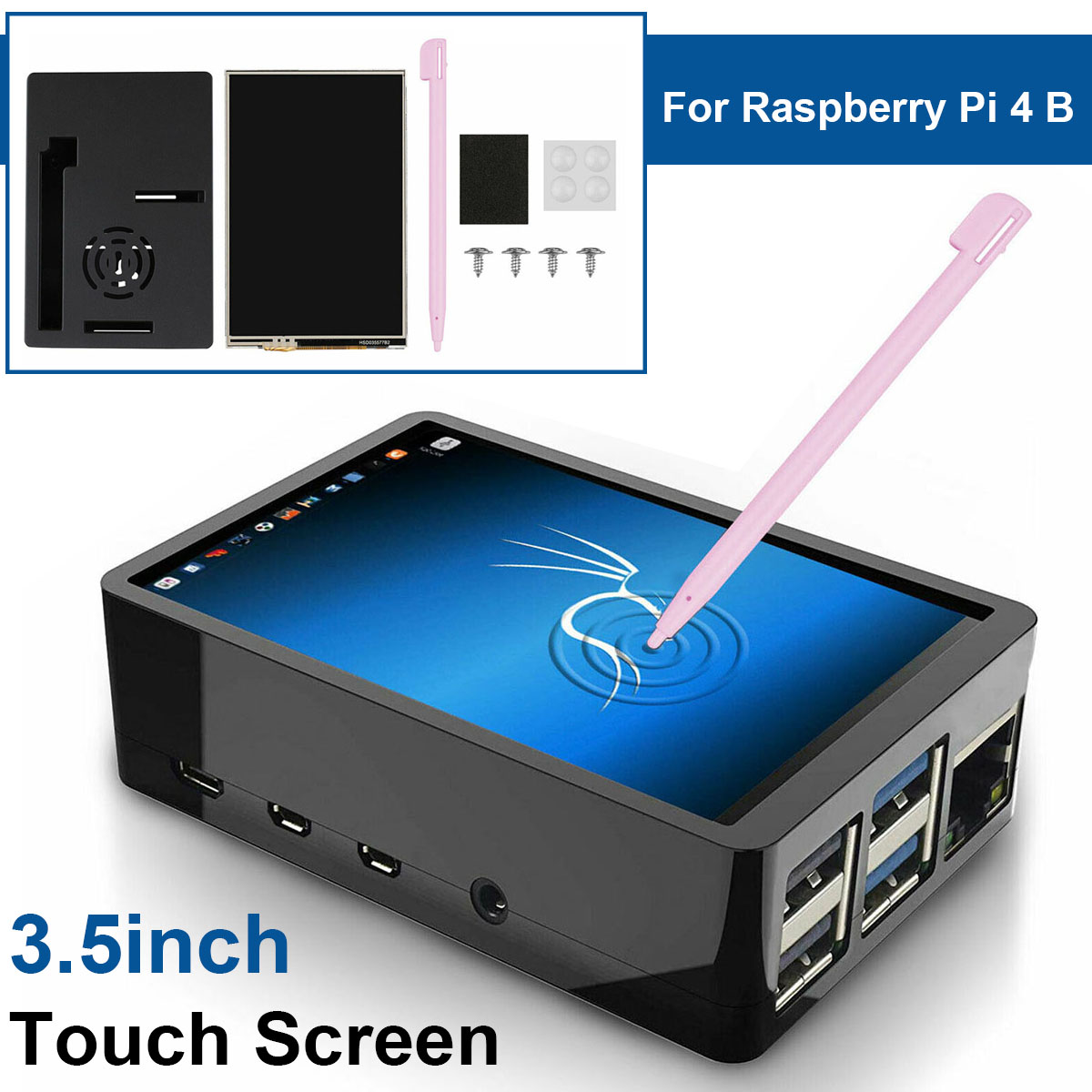 3.5inch TFT LCD Touch Screen + ABS Case + Touch Pen HDMI Input LCD Display Monitor Kit For Raspberry Pi 4 B