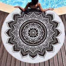 Round Beach Towel Blanket Yoga Mat Soft Swimming Bath Towel Wall HangingTowel Boho Mandala Thicker Microfiber Beach