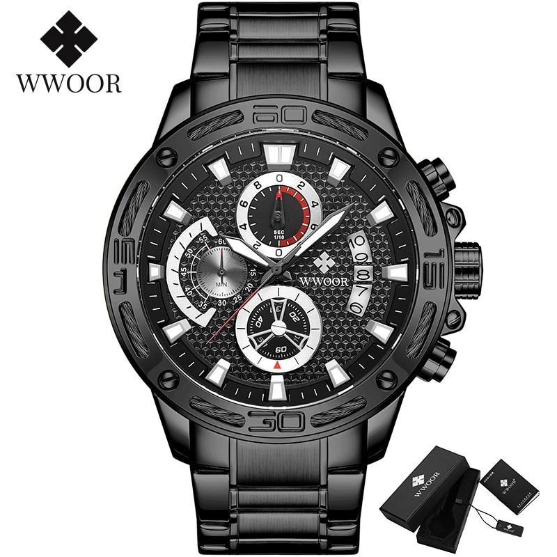 WWOOR 2020 New Men Watches Top Brand Luxury Gold Stainless Steel Quartz Watch Men Waterproof Sport Chronograph Relogio Masculino 9