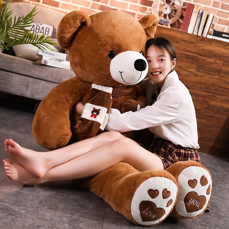 새로운 뜨거운 고품질 4 색 스카프와 테디 베어 박제 동물 곰 인형 장난감 인형 베개 키즈 연인 생일 아기 선물