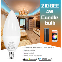 GLEDOPTO – ampoule led intelligente zigbee, 4W, E12/E14, RGBCCT, lampe décorative, compatible avec Amazon Echo pl