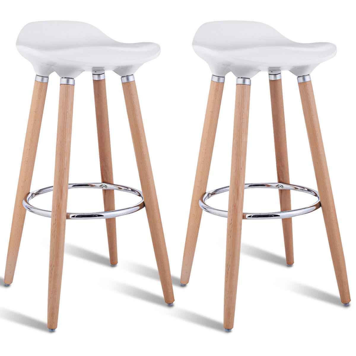 Costway Set Of 2 ABS Bar Stool Breakfast Barstool W/ Wooden Legs Kitchen Furniture White