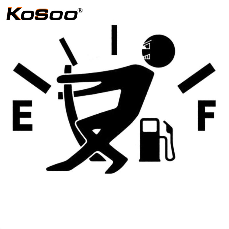 KOSOO Free Shipping Funny High Gas Consumption Car Stickers Fuel Gage Empty Vinyl Decal Accessories Car Styling 12.7*9.2cm