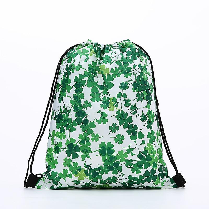 Fashion Drawstring Backpack Women Printing Clover Travel Softback Men Drawstring Bags Unisex Women's Shoulder SHOPPING Polyeste