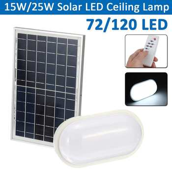 15W/25W Solar LED Ceiling Lamp Soft Light Round/Oval Bulb Remote Control Indoor Outdoor Waterproof Garage LED Ceiling Lights