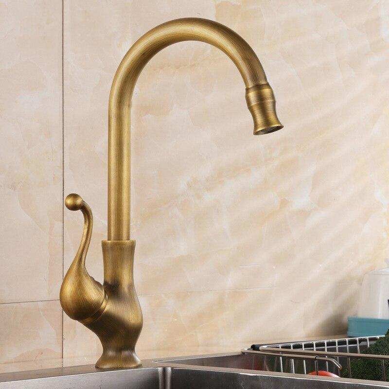 Antique Bronze laiton robinet de cuisine rétro navire évier robinet mitigeur pivotant bec froid eau chaude mélangeur robinet grue pont monté