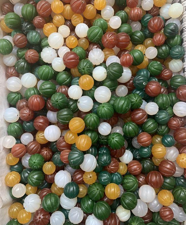 Natural 12mm Handcarve Pumpkin Green Jade Beads Jade Bracelet DIY Jade Beads For Jewelry Make 6pcs/lot