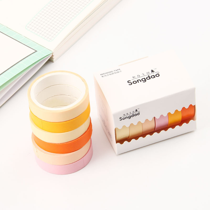 Solid Color Washi Tape Adhesive Tape DIY Decoration Office Label Sticker Stationery
