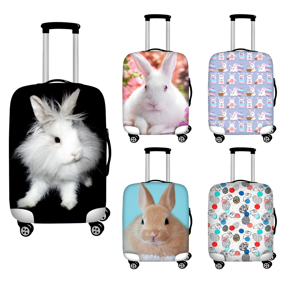 Twoheartsgril Cute Rabbit Travel Luggage Dust Cover Waterproof Stretch Protective Trolley Case Cover For 18''-32'' Inch Suitcase