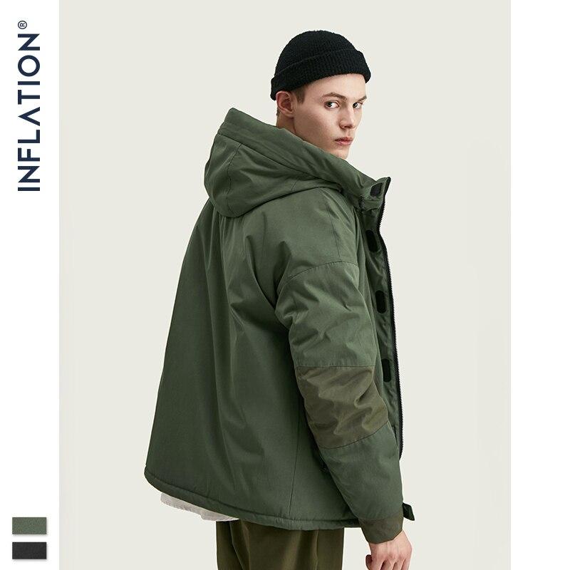 INFLATION Patchwork Solid Hooded Coat Men 2019 High Street Thick Winter Coat Men Hip Hop Oversize High Collar Parka Coats 9754W