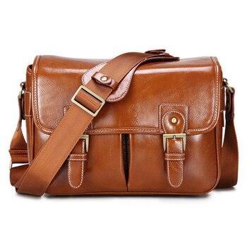 цена на Photo Luxury Camera Stylish Fashion Retro PU Leather Case Handbag Waterproof Shoulder Messenger DSLR Bag for Canon Nikon Sony L