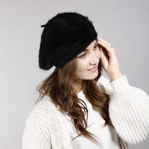 Женский берет модная шляпа для зимы женские шапки из кроличьей шерсти теплый женский однотонный шапочки для девочек Boinas De Mujer