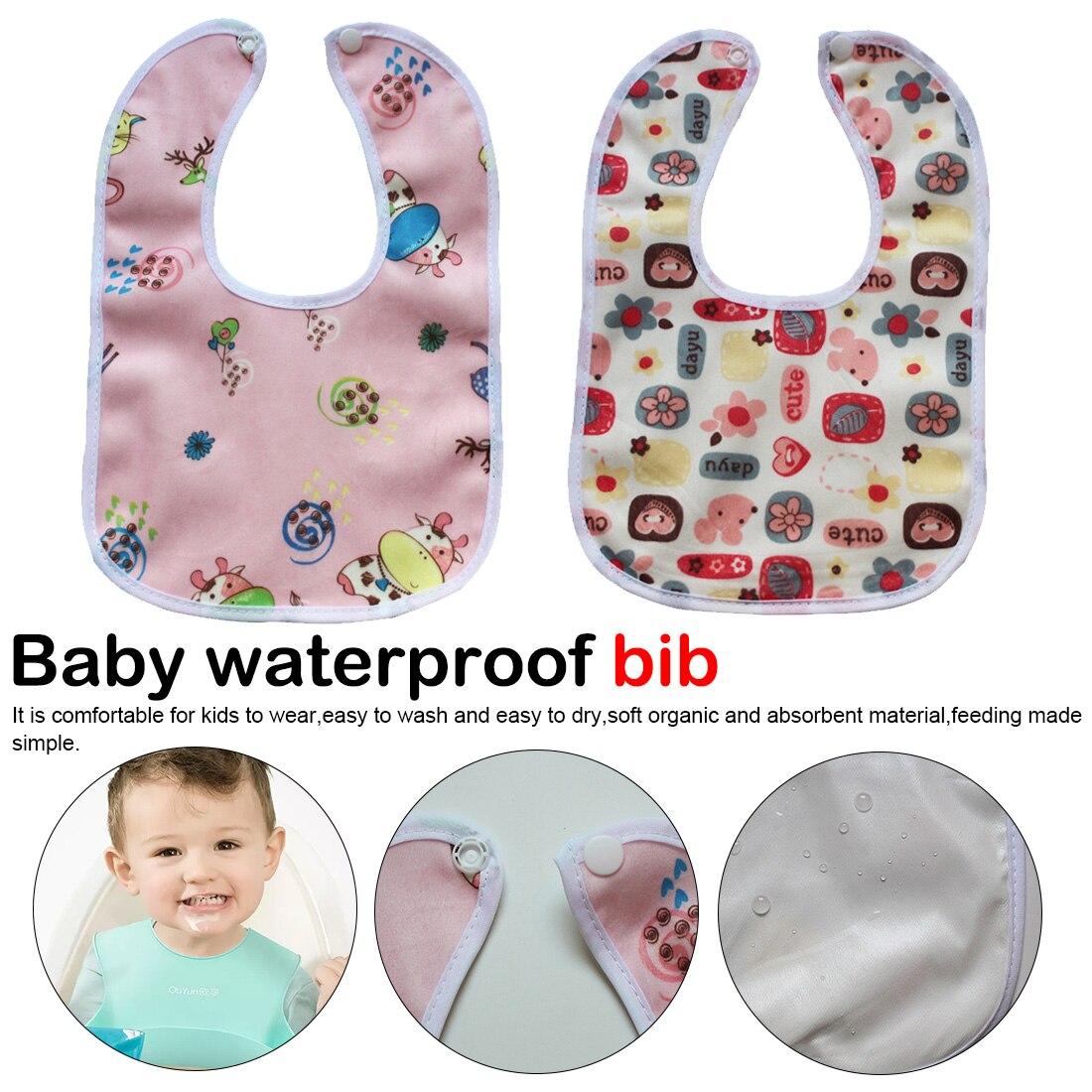 Baby Girl Boy Waterproof Cartoon Soft Towel Kids Toddler Dinner Feeding Bibs