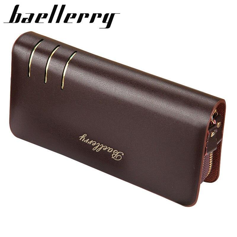 Portefeuilles longs de marque de luxe pour hommes, pochette en cuir PU pour hommes, porte-cartes de Style Business, porte-monnaie