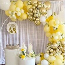 100 шт. желтый шар комплект гирлянды из белого металла латексные золотистые Globos для свадебного Для летних вечеринок детский день рождения ук...